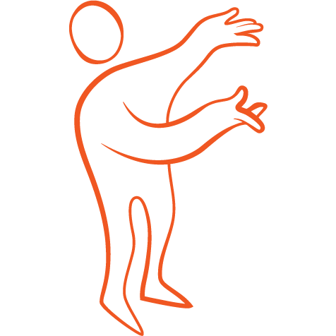Orange illustration figur som gör presentations-gest.