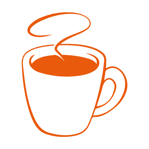 Orange illustration kaffekopp.
