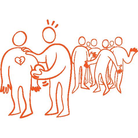 Orange illustration figur som hjälper en annan utstött figur, i bakgrunden står mobbarna.