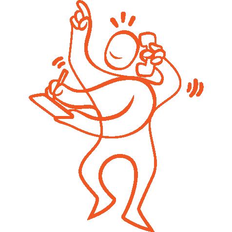 Orange illustration figur som antecknar och pratar i telefon samtidigt.